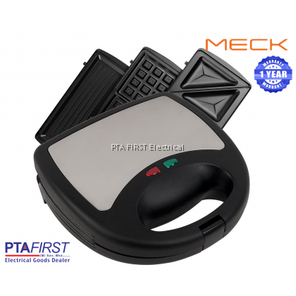 MECK MSW3IN1CS 3 In 1 Electric Sandwich Maker, Waffle Maker and Griller